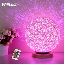 LED Remote Control Night Light colorful RGB kids baby room bedside table lamp wicker atmosphere party Xmas holiday night lights(China)
