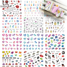 Fashion 1 Sheet  Beautiful Jewel/Lady Pattern DIY 3D Nail Stickers Simple Nail Art Stickers Manicure Decals E380-390