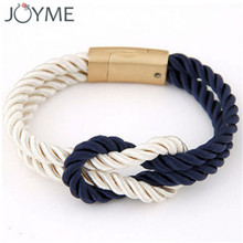 Fashion Braided Jiu-jitsu Belt Rank Rope Chain with Magnetic Clasp bow Charm Leather Survival Bracelets & Bangles for Women Men