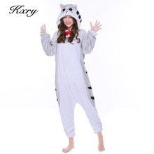 New Cheese Cat Pyjama Halloween Costumes S-XL Full Flannel Winter Warm Hooded Animal Pajamas For Men Women Fress Shipping P048(China)
