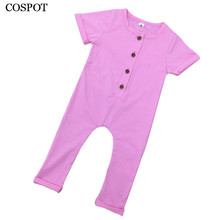 COSPOT Baby Boys Girls Summer Romper Gilr Boy Plain Color Jumpsuit Newborn Jumper Kids Cotton Rolled Sleeve Pajamas 2017 New 35C(China)