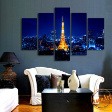 5 Piece Wall Art Set Tokyo Tower Night Landscape Painting Blue Canvas Prints Wall Picture for Living Room Home Decor Unframed
