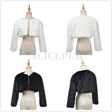 Fashion Winter Ivory/Black Faux Fur Bridal Wedding Wrap Jacket Evening Party Shrug Bolero w/ Long Sleeves Size S M L PJ160007