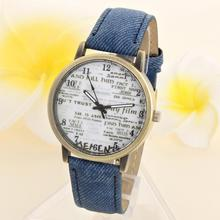 2017 Top-sale Unisex Clock Casual Fashion Womens Mens Gold Dial Denim Fabric Band Watches News Paper Quartz Wrist Watch Oct30(China)