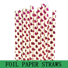 100pcs Rose Pink Foil Heart Paper Straws,Valentines Party Wedding Retro Cheap Vintage Drinking Paper Straws Cake Pop Sticks Bulk