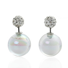 Doreen Box Double Sided Ear Post Stud Earrings Ball White AB Color Clear Rhinestone 8mm Dia. 16mm Dia.,1 Pair