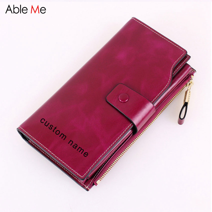 AbleMe 2017 New Genuine Leather Wallet Ladies Birthday Gifts Custom Name Oil Wax Cowhide Women purse Multi-Card Long Wallet<br>