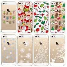 Santa Claus Case For iPhone 5 5s SE Capa Merry Christmas Phone Cases Cute Snowman Back Cover Fundas Soft TPU Slim Mobile Bags(China)