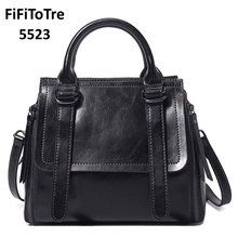 5523 Real Cow Genuine Leather Ladies Hign Quality HandBags Women Totes Messenger Brand Designer Luxury Bags 2018 NEW black(China)