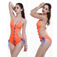 New2016 Women Solid Color Conjoined Swimwear Sexy High Cut Swimsuit Front Strappy Scrunch One Piece Bandage Push Up Bathing Suit