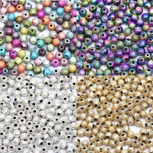 Mixed/Silver/Gold/Rainbow Scrub Acrylic Ball 4/6/8/10/12/20mm Spacer Beads Charms Findings For Jewelry Making Craft DIY
