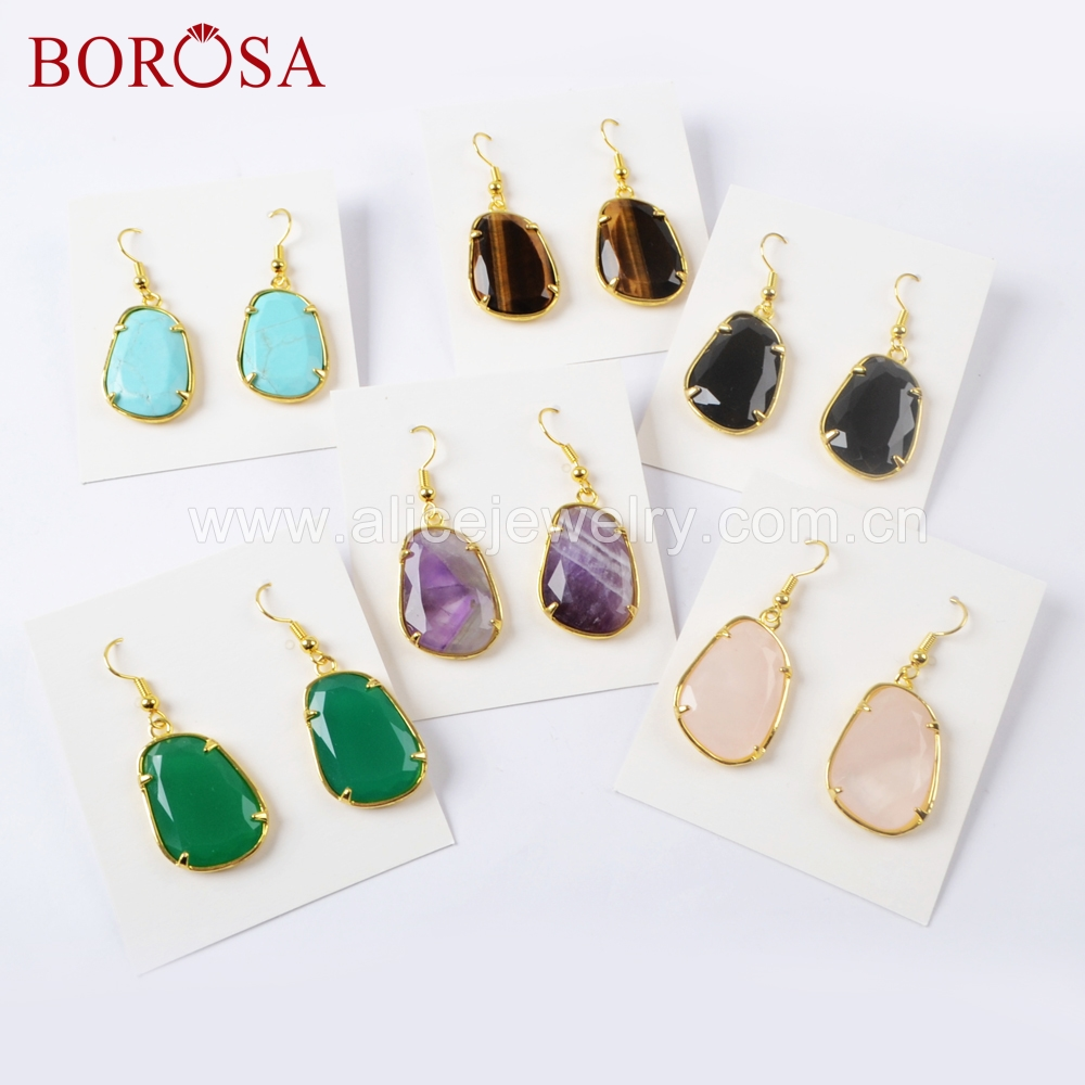 BOROSA 5/10Pairs Multi-kind Faceted Natural Stone Gold Color Earring Prong Setting Pink Quartz Agates Drop Earring WX1049