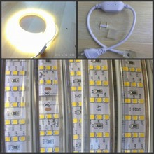 Newest 276Leds/m 220V LED Strip 2835 SMD 20W/m Threw Row dimmable Waterproof LED Tape Light White / Warm White Home Decoration(China)