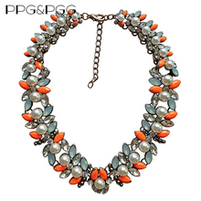 PPG&PGG Brand Gorgeous Neon Orange Crystal Bib Imitation Pearl Collar Choker Necklaces For Women(China)