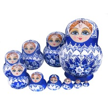 Beautiful Doll Wooden Toys Matryoshka Doll Kids Gift Russian Nesting Dolls Baby Toy Girl Doll 10pcs M09(China)
