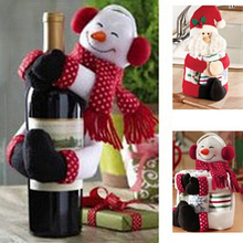 2016 Hot Sale 1Pcs Santa Claus Snowman New Year Christmas Decoration Supplies Gift Christmas Wine Bottle Cover Ornament Decor