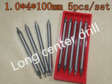 1.0*4*100mm 5pcs/set 4mm petiole 60 degrees High quality HSS Long center drill Pilot drill Free shipping(China)