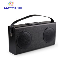 New Listing Wooden Portable Bluetooth Speaker FM Radio Wood Grain Wireless Stereo Speakers Double Horn Home Bookshelf Speakers(China)
