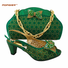 African lady shoes green manual paste with crystal shoes Italian shoes and bag matching set clutch bags African shoes and bag