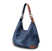 2017 Large Luxury Handbags Women Bag Designer Ladies Hand bags Big Purses Jean Denim Tote Shoulder Crossbody Women Messenger Bag(China)