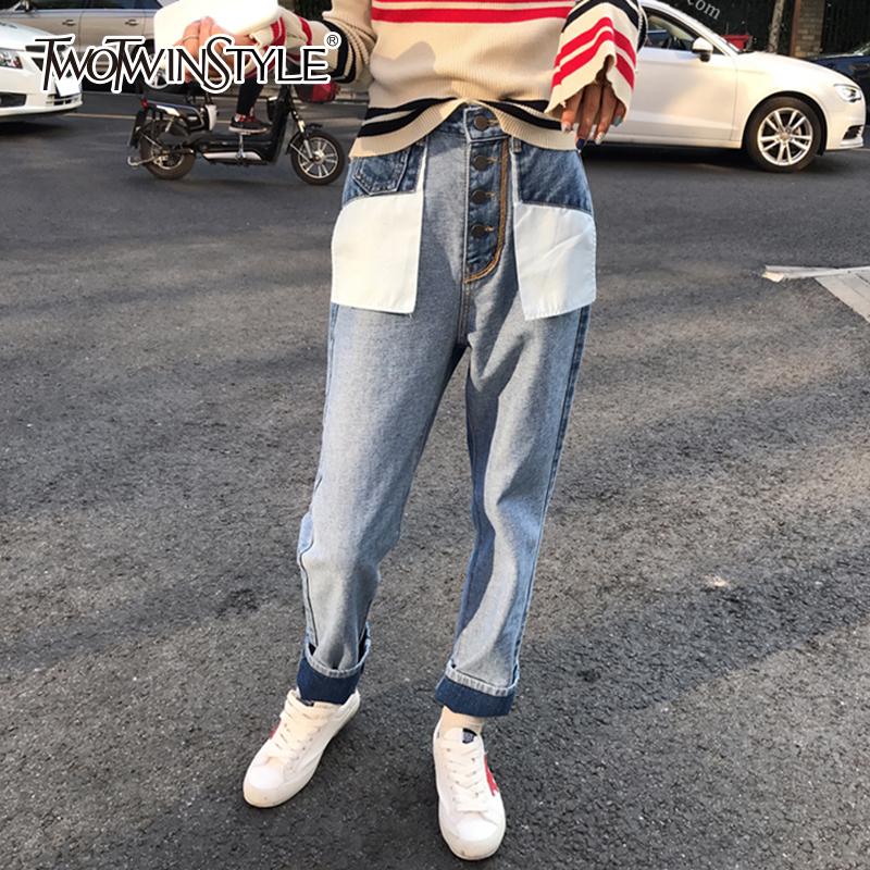 TWOTWINSTYLE Denim Trousers For Women Plus Size High Waist Patchwork Pocket Women's Jeans Streetwear Style Fashion 2018 Autumn