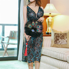 Buy New Women Sexy Peacock Embroidery Long BabyDolls Hollow Cheongsam Erotic Lingerie Porno Costumes Sexy Lingerie Dress