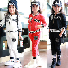 kid's sports wear girl's autumn sets children sports suit kid's badge baseball sports sets girl's harem suit size 3-7years