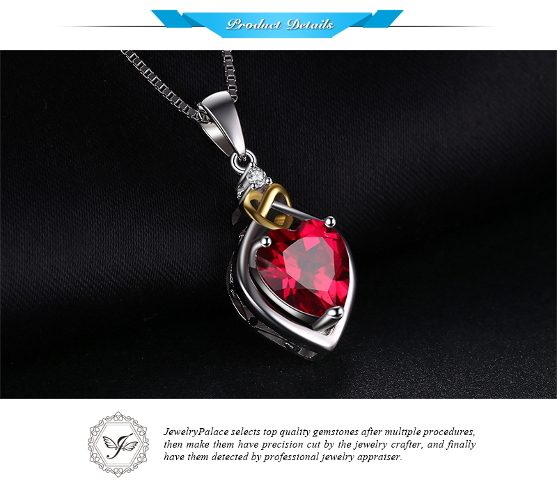 JewelryPalace Love Knot Heart 2.5ct Created Red Ruby Anniversary Pendant 925 Sterling Silver 18K Yellow Gold Without a Chain 24