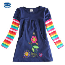 novatx H5802 Retail Brand New Kids Clothes Child Blouse Clothing For baby Girls T shirts Top Long Seeve Flower Spring Autumn(China)