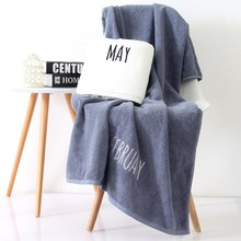 SunnyRain 1-Piece Grey White Month Embroidered Cotton Bath Towel For Adult Beach Towel High Water-absorbent 70x140cm 430GMS(China)