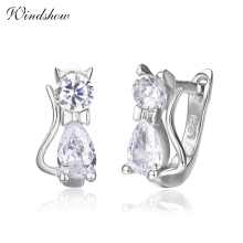 Cute Kitty Kitten Cat CZ 925 Sterling Silver Gatos Small Loop Huggies U Hoop Earrings For Kids Baby Girls Children Jewelry Aros(China)