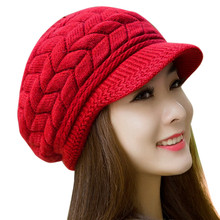 Winter Women Hat Ladies Warm Knit Crochet Slouch Baggy Beanie Hat Cap for Women Bonnet Women Crochet Knitted Hat Peaked Cap