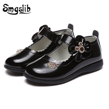 Children Girls leather shoes new 2017 school Kids girl dress shoes fashion party princess girls black shoes Size 21-36