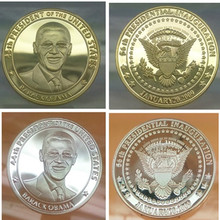 10 pcs ( 5 + 5) The president of United states Barack Obama American gold silver plated souvenir coin gift