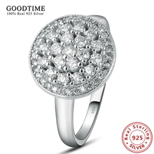 Wholesale Sterling Jewelry 925 Sterling Silver Round Wedding Ring Inlay Shining CZ Diamond Ring Hot Finger Ring for Women GTR065