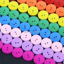 Random Mixed 2 Holes Wooden Buttons Scrapbooking 15mm Decorative Buttons Apparel Sewing 100Pcs/lot