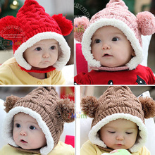 New Winter Baby Hat 0-5Y Infant Unisex Multicolored Warm Knitted Hats Two Balls Cap Xmas Gift