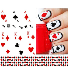 1 Sheet Nail Art Stickers Nail Water Transfer Poker Aces Nail Tips Decals Decoration DIY Watermark Manicure Tools LASTZ252