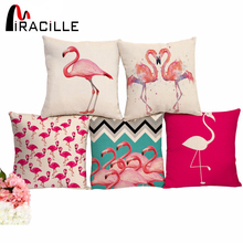 "Square 18"" Cotton Linen Pink Flamingo Printed Cushions Dogs Coffee House Waist Pillows Without Filling(China)"