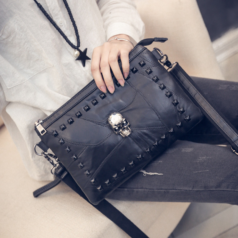 Women Messenger Bags 2017 Skull Crossbody Bags Womens Envelope Bag PU Leather Shoulder Bag For Women Bolsa Feminina<br><br>Aliexpress