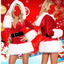 Wholesale Free P&P Lady Sexy Cute Santa Christmas Party New Year Costume Fancy Dress +T-back Outfit Fit Well Size S/M XD22(China)