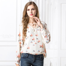 Europe and the United States fall color V - collar wild long - sleeved shirt printing large size chiffon shirt