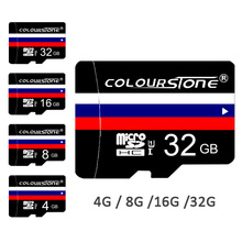 Colourstone Customized Memory card Russian Flag Micro SD card 8G 16G 32G 64G TF card For Gift Pen drive flash card WITH Adapter