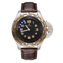 EFFORT World Time Zones Men Sport Watch Leather Rose Gold Luxury Watch Men Top Brand Military Watch relogio masculino Hours