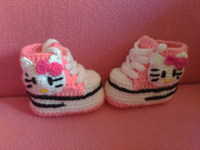 crochet booties with cat crochet shoes with a cat newborn  pink for baby girl newborn baby