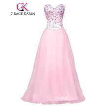 Grace Karin Elegant Bling Sparkly Long White Prom Dresses Sweetheart Pink Blue Ball Gowns Tulle Corset Style School Party CL3519(China)