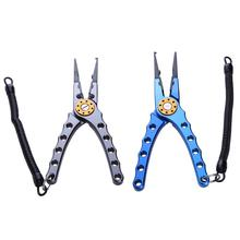 Aluminum Fishing Tweezer Alloy Fish Tongs Fishing Scissors With Lanyard Bent Nose Pliers Head Double Leaf Spring Fishing Plier