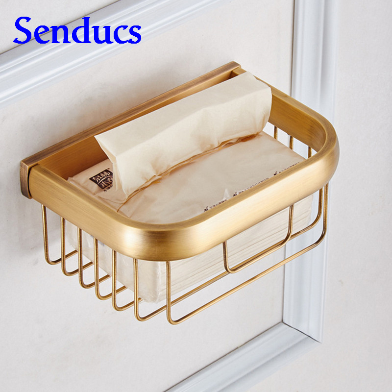 Free shipping Senducs antique toilet paper holder with wall mounted solid brass bathroom paper holder of sanitary paper holder<br>