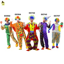 2017Holiday Variety Funny Clown Costumes Cospaly Clown Clothes Suit Costume Party Dress Christmas Adult Woman/Man Joker Costume(China)