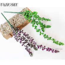 Cheap Artificial Succulent Plants Lot Real Touch Green Vine Flower Hanging Rattan Wall Decor Lover's tear Landscape Arrangements